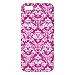 White On Hot Pink Damask Apple Iphone 5 Premium Hardshell Case by Zandiepants