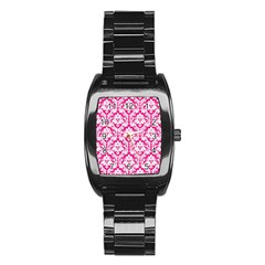 White On Hot Pink Damask Stainless Steel Barrel Watch by Zandiepants
