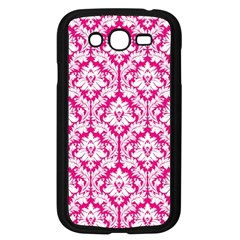 White On Hot Pink Damask Samsung Galaxy Grand Duos I9082 Case (black) by Zandiepants