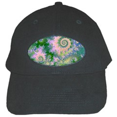 Rose Apple Green Dreams, Abstract Water Garden Black Baseball Cap