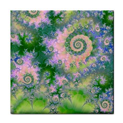 Rose Apple Green Dreams, Abstract Water Garden Ceramic Tile by DianeClancy