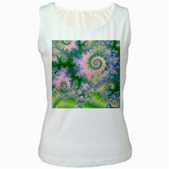 Rose Apple Green Dreams, Abstract Water Garden Women s Tank Top (white) by DianeClancy