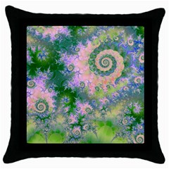 Rose Apple Green Dreams, Abstract Water Garden Black Throw Pillow Case by DianeClancy