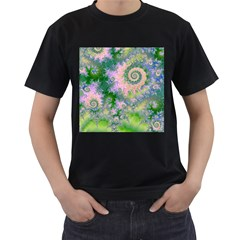 Rose Apple Green Dreams, Abstract Water Garden Men s Two Sided T-shirt (black) by DianeClancy