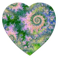 Rose Apple Green Dreams, Abstract Water Garden Jigsaw Puzzle (heart) by DianeClancy