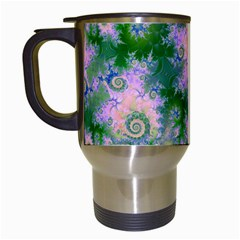 Rose Apple Green Dreams, Abstract Water Garden Travel Mug (white) by DianeClancy