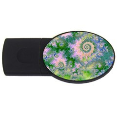 Rose Apple Green Dreams, Abstract Water Garden 4gb Usb Flash Drive (oval) by DianeClancy