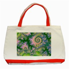 Rose Apple Green Dreams, Abstract Water Garden Classic Tote Bag (red) by DianeClancy