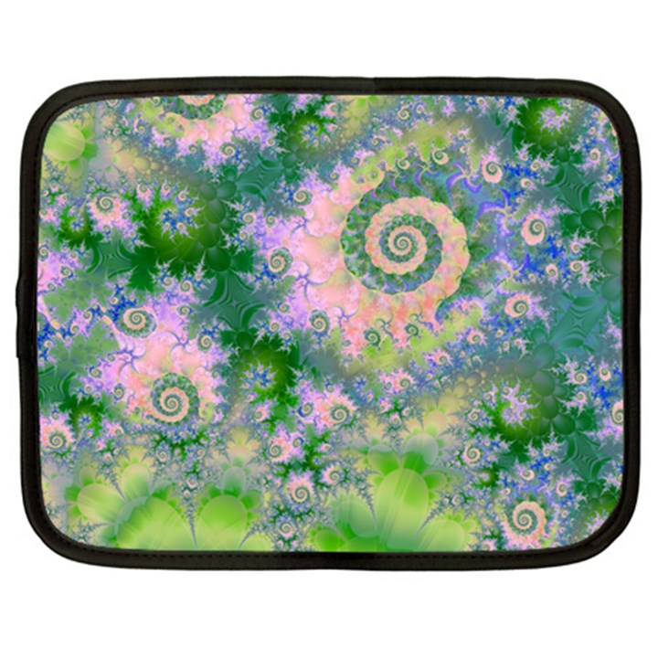 Rose Apple Green Dreams, Abstract Water Garden Netbook Sleeve (XXL)