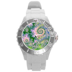Rose Apple Green Dreams, Abstract Water Garden Plastic Sport Watch (large) by DianeClancy