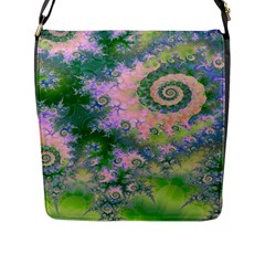 Rose Apple Green Dreams, Abstract Water Garden Flap Closure Messenger Bag (large) by DianeClancy