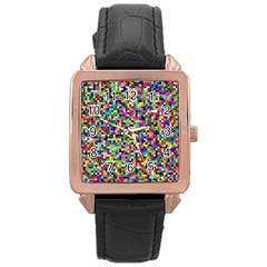 Color Rose Gold Leather Watch  by Siebenhuehner