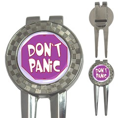 Purple Don t Panic Sign Golf Pitchfork & Ball Marker by FunWithFibro