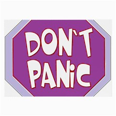 Purple Don t Panic Sign Glasses Cloth (large, Two Sided) by FunWithFibro