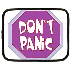 Purple Don t Panic Sign Netbook Sleeve (xxl) by FunWithFibro