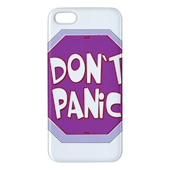 Purple Don t Panic Sign Apple Iphone 5 Premium Hardshell Case by FunWithFibro
