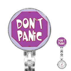 Purple Don t Panic Sign Stainless Steel Nurses Watch by FunWithFibro