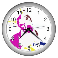 Untitled 3 Colour Wall Clock (silver) by nadiajanedesign