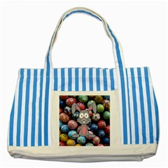 Easter Egg Bunny Treasure Blue Striped Tote Bag by StuffOrSomething