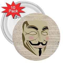 We The Anonymous People 3  Button (10 Pack)