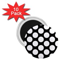 Black And White Polkadot 1 75  Button Magnet (10 Pack) by Zandiepants