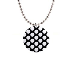 Black And White Polkadot Button Necklace by Zandiepants