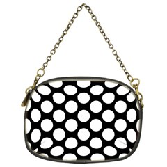 Black And White Polkadot Chain Purse (one Side) by Zandiepants