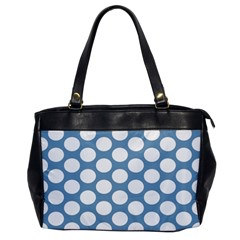 Blue Polkadot Oversize Office Handbag (one Side) by Zandiepants