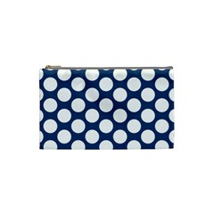 Dark Blue Polkadot Cosmetic Bag (small) by Zandiepants