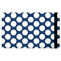 Dark Blue Polkadot Apple Ipad 2 Flip Case by Zandiepants