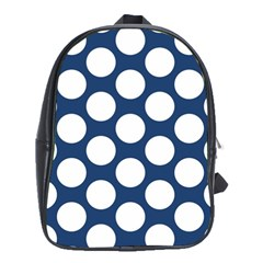 Dark Blue Polkadot School Bag (xl) by Zandiepants