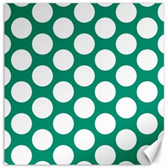 Emerald Green Polkadot Canvas 12  X 12  (unframed) by Zandiepants