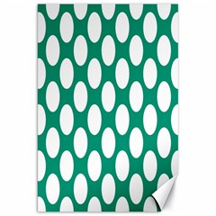Emerald Green Polkadot Canvas 20  X 30  (unframed) by Zandiepants