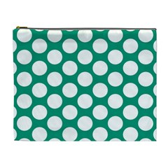 Emerald Green Polkadot Cosmetic Bag (xl) by Zandiepants