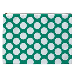Emerald Green Polkadot Cosmetic Bag (xxl) by Zandiepants