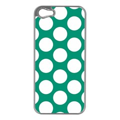Emerald Green Polkadot Apple Iphone 5 Case (silver) by Zandiepants