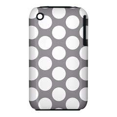 Grey Polkadot Apple Iphone 3g/3gs Hardshell Case (pc+silicone) by Zandiepants