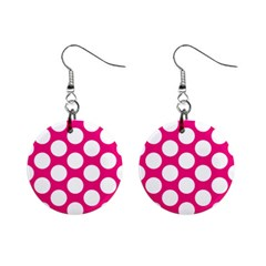 Pink Polkadot Mini Button Earrings by Zandiepants