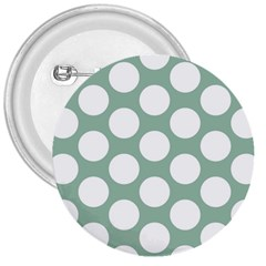 Jade Green Polkadot 3  Button