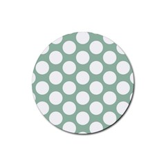 Jade Green Polkadot Drink Coasters 4 Pack (round) by Zandiepants