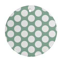 Jade Green Polkadot Round Ornament (two Sides) by Zandiepants