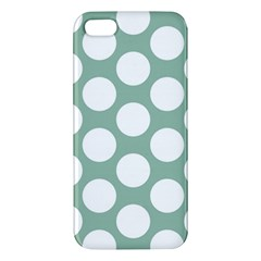 Jade Green Polkadot Apple Iphone 5 Premium Hardshell Case by Zandiepants