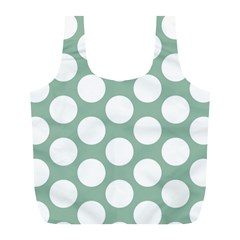 Jade Green Polkadot Reusable Bag (l) by Zandiepants