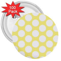 Yellow Polkadot 3  Button (100 Pack) by Zandiepants