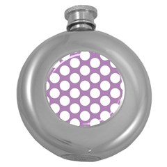 Lilac Polkadot Hip Flask (round) by Zandiepants
