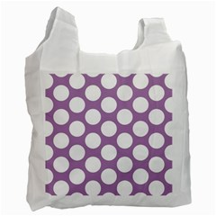 Lilac Polkadot White Reusable Bag (one Side) by Zandiepants