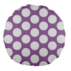 Lilac Polkadot 18  Premium Round Cushion  by Zandiepants