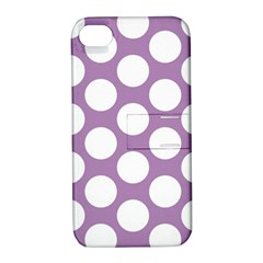 Lilac Polkadot Apple Iphone 4/4s Hardshell Case With Stand by Zandiepants
