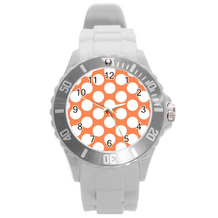 Orange Polkadot Plastic Sport Watch (Large)