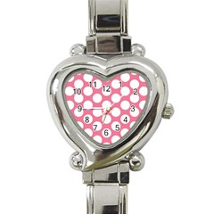 Pink Polkadot Heart Italian Charm Watch  by Zandiepants